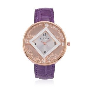 Purple Leather Banded Water Resistant Watch RG NWT